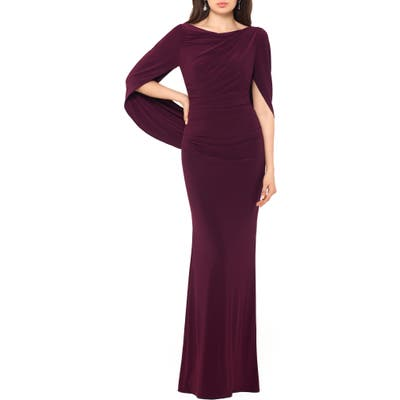 Betsy & Adam Drape Sleeves Trumpet Evening Gown, Burgundy