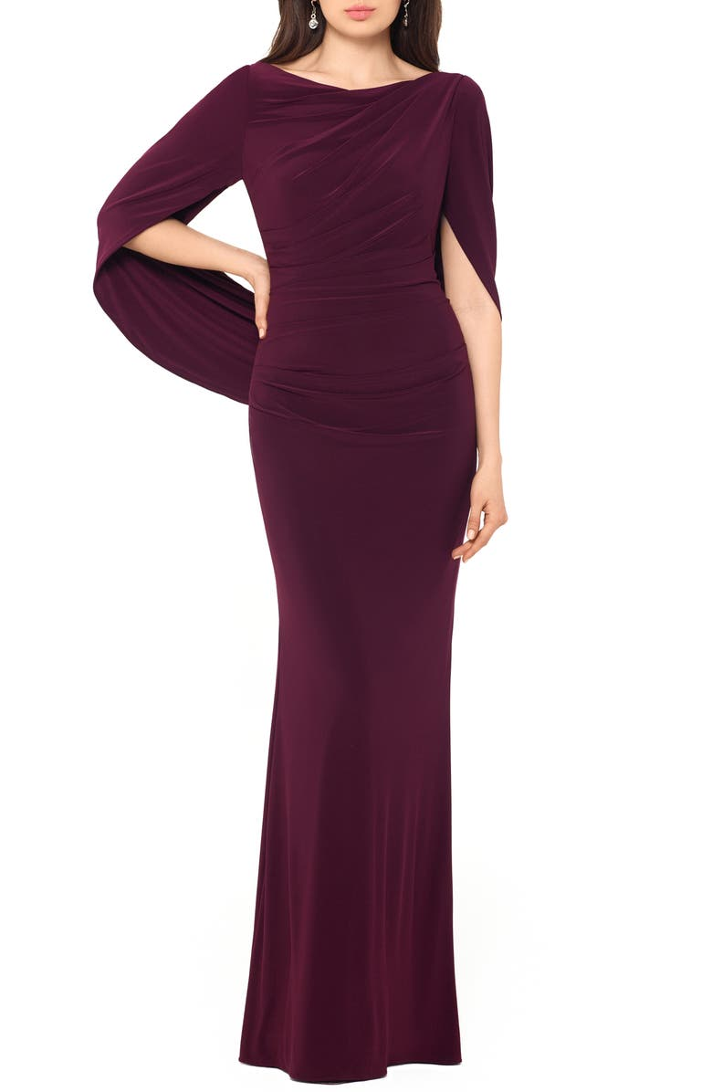 BETSY & ADAM Drape Sleeves Trumpet Evening Gown, Main, color, WINE