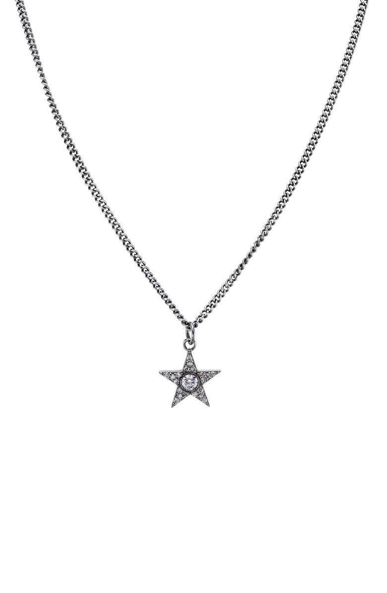 SHERYL LOWE Bezel Diamond Star Pendant Necklace, Main, color, STERLING SILVER