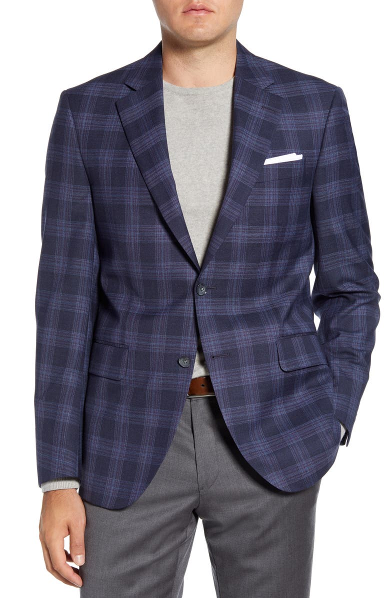 PETER MILLAR Flynn Classic Fit Plaid Wool Sport Coat, Main, color, NAVY