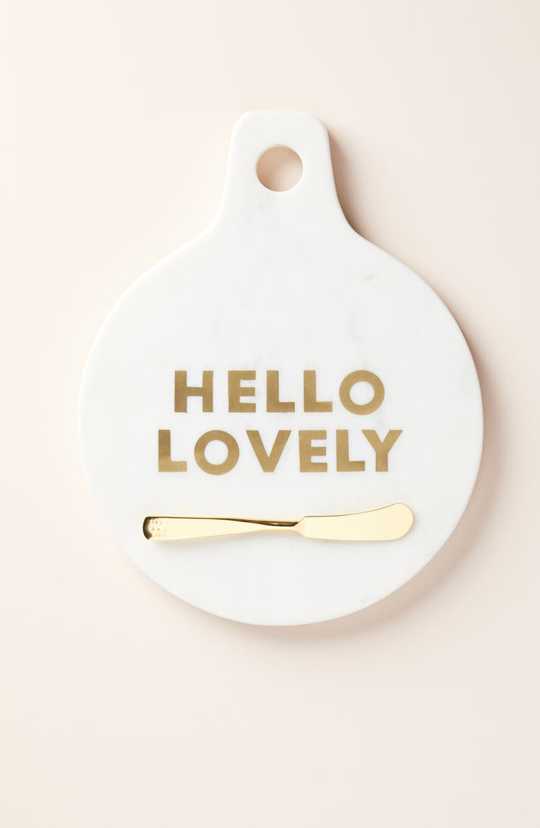 Anthropologie Hello Lovely Marble Brass Cheese Board Exclusive Color