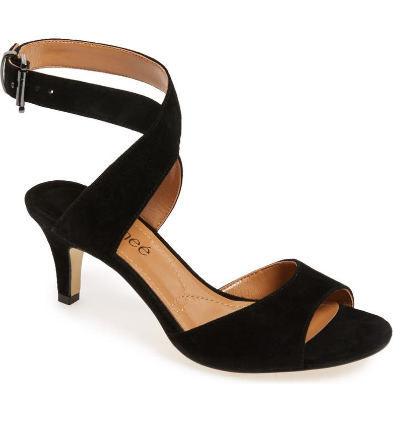 J. RENEÉ 'Soncino' Ankle Strap Sandal, Main, color, BLACK SUEDE