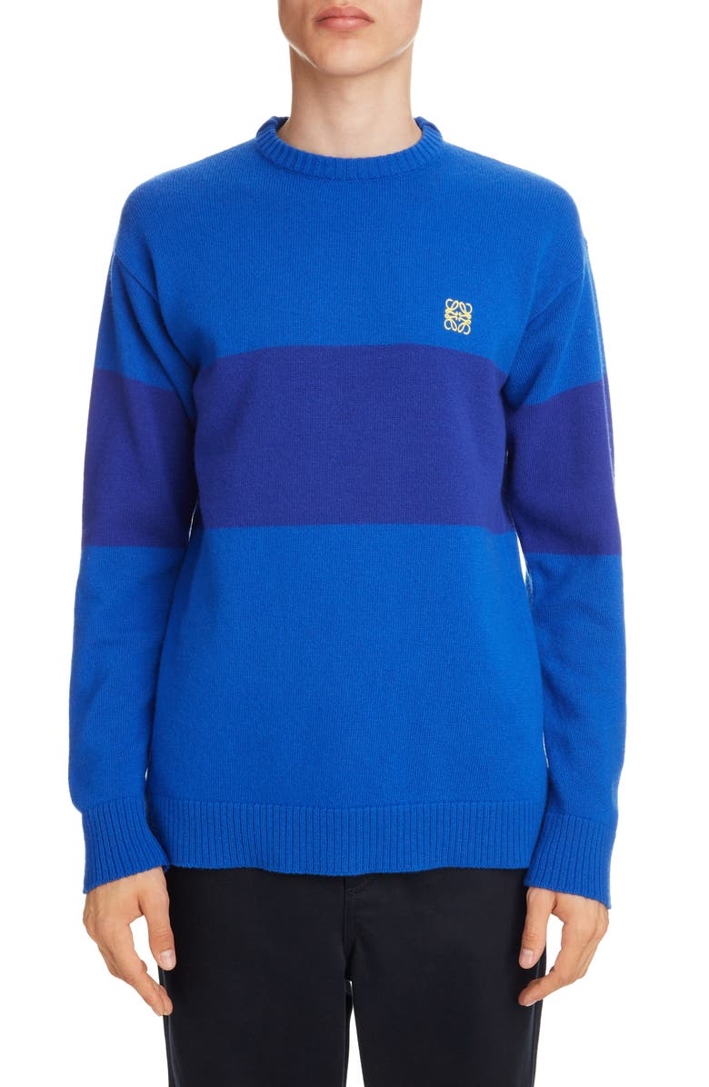 LOEWE Anagram Embroidered Stripe Wool Sweater, Main, color, BLUE/ ELECTRIC BLUE