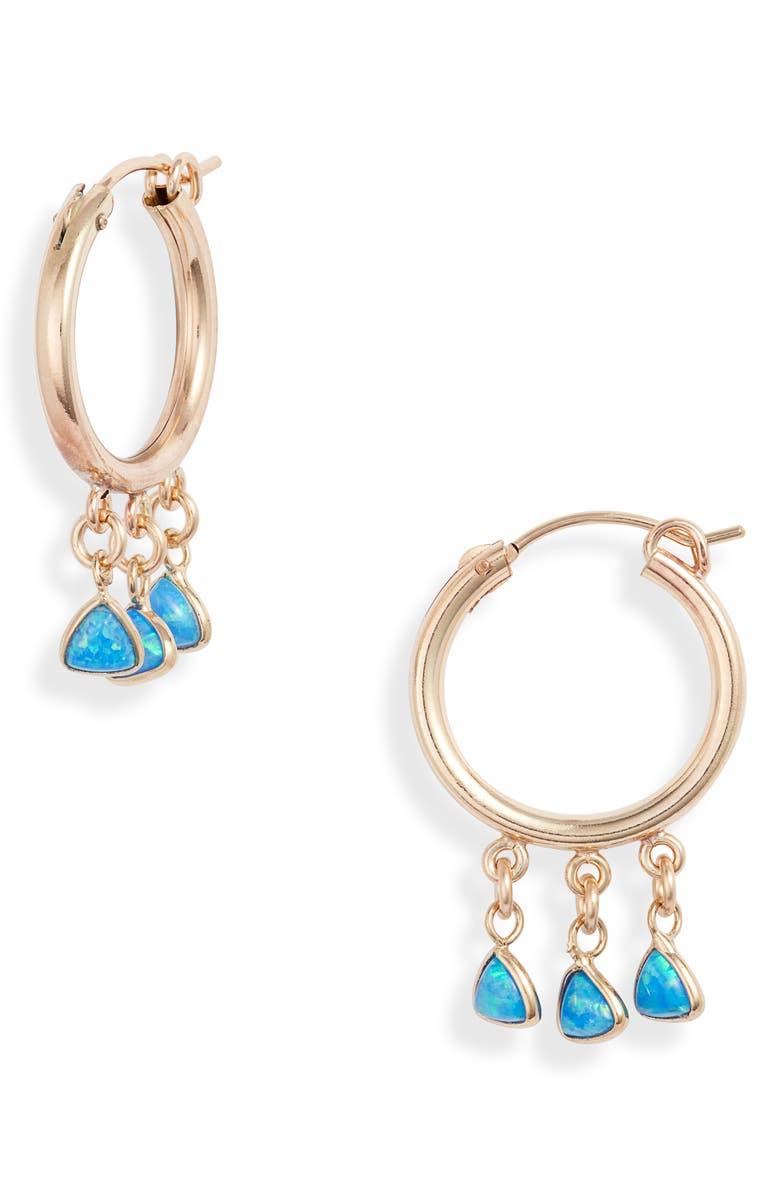 SET & STONES Brooklyn Hoop Earrings, Main, color, GOLD/ BLUE