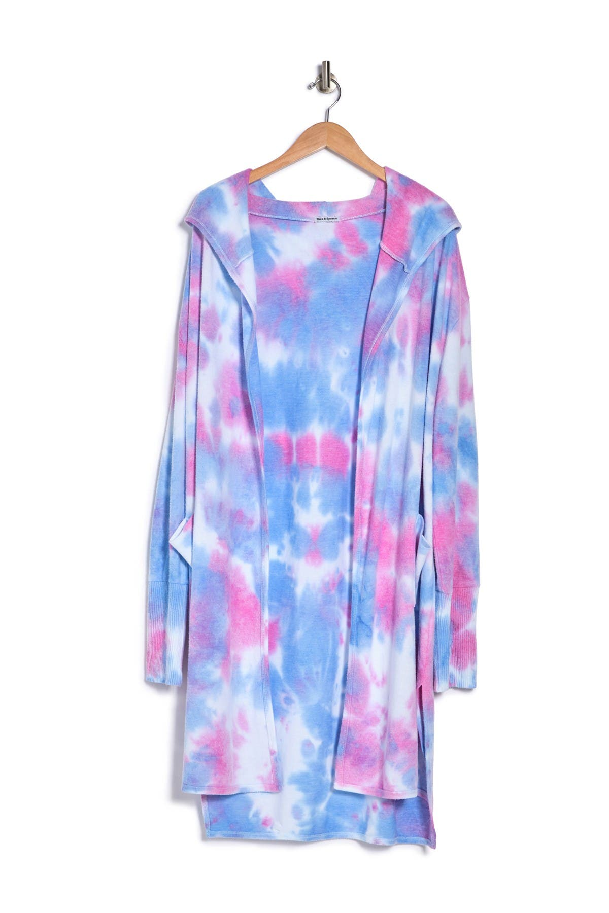 Theo and Spence Bubblegum Tie-Dye Hooded Lounge Cardigan