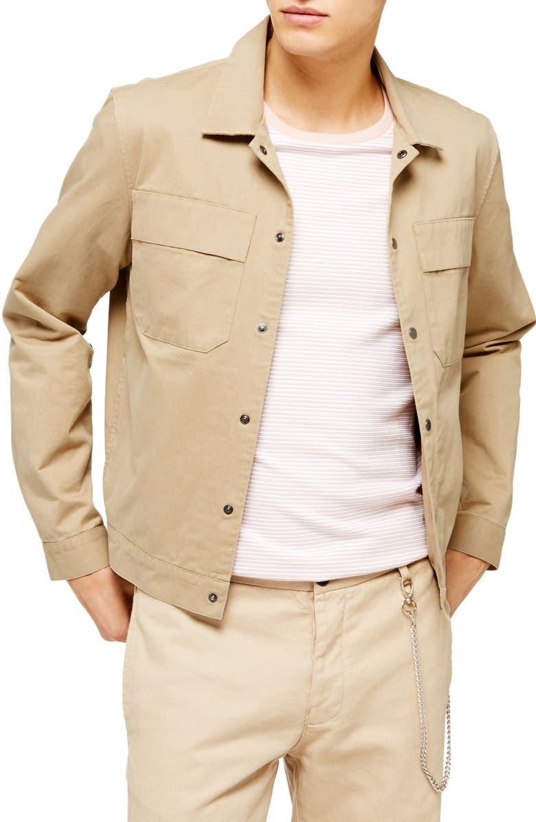 TOPMAN Oversize Shirt Jacket, Main, color, STONE