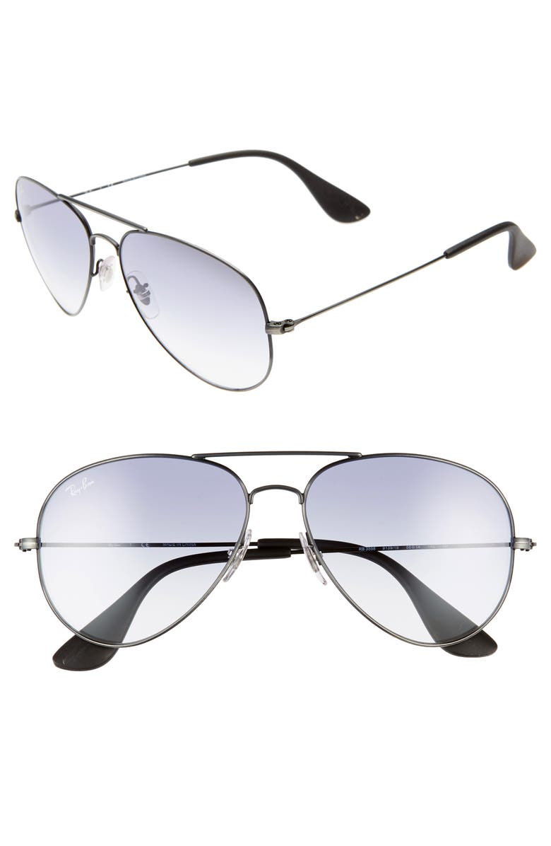 RAY-BAN Pilot 58mm Gradient Sunglasses, Main, color, LIGHT BLUE