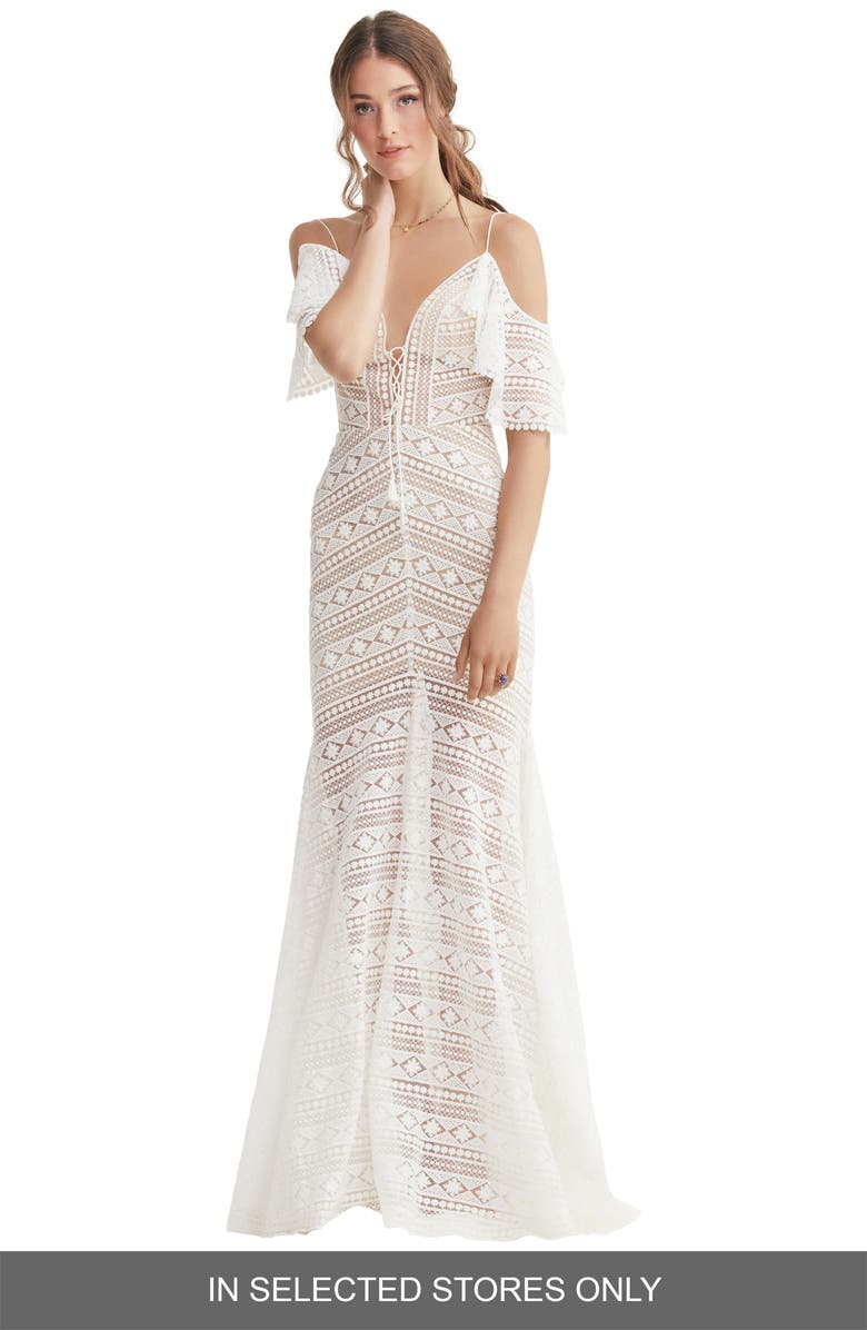 WILLOWBY Jaycee Cold Shoulder Lace Wedding Dress, Main, color, IVORY