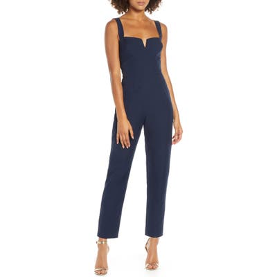 Wayf The Dita Notched Neck Jumpsuit, Blue