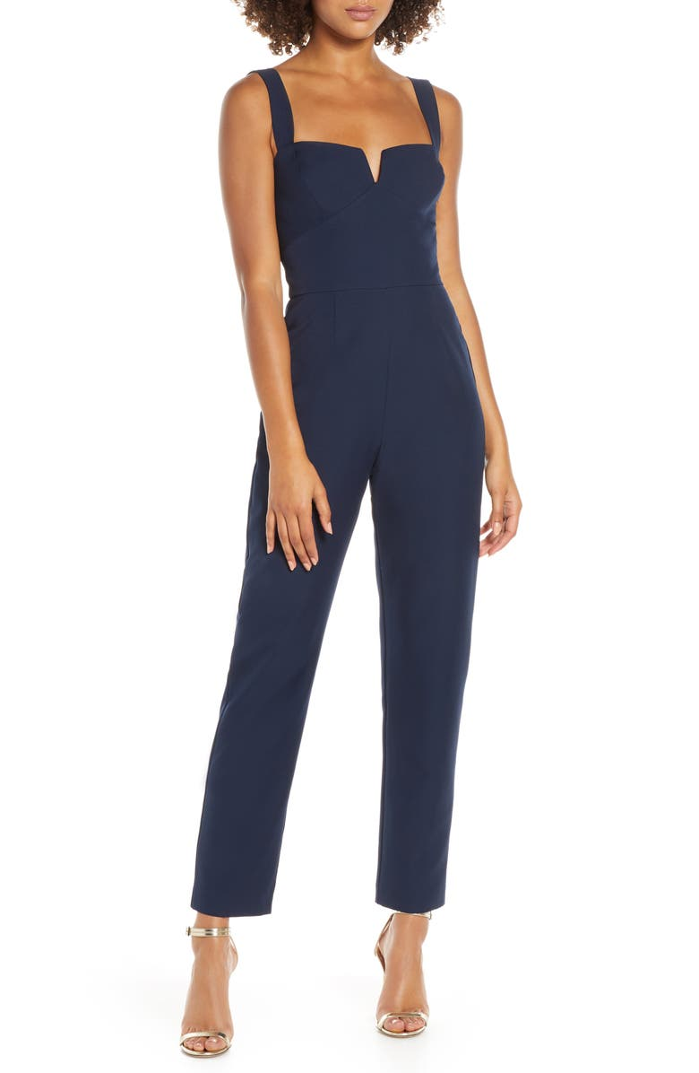 WAYF The Dita Notched Neck Jumpsuit, Main, color, NAVY