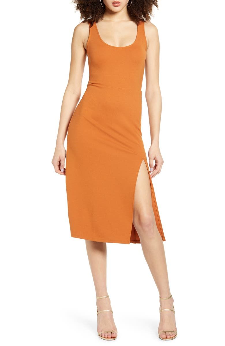 LEITH Scoop Neck Midi Dress, Main, color, TAN ADOBE
