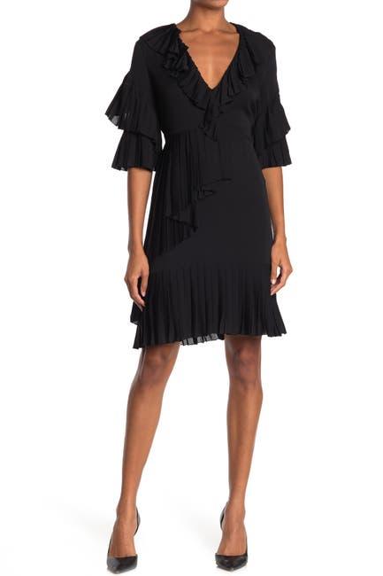 Image of GUCCI Silk Pleated Ruffle Dress
