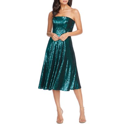 Dress The Population Ruby Strapless Sequin Party Dress, Green