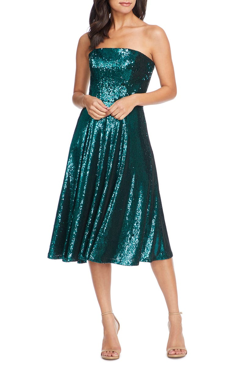 DRESS THE POPULATION Ruby Strapless Sequin Party Dress, Main, color, DEEP EMERALD