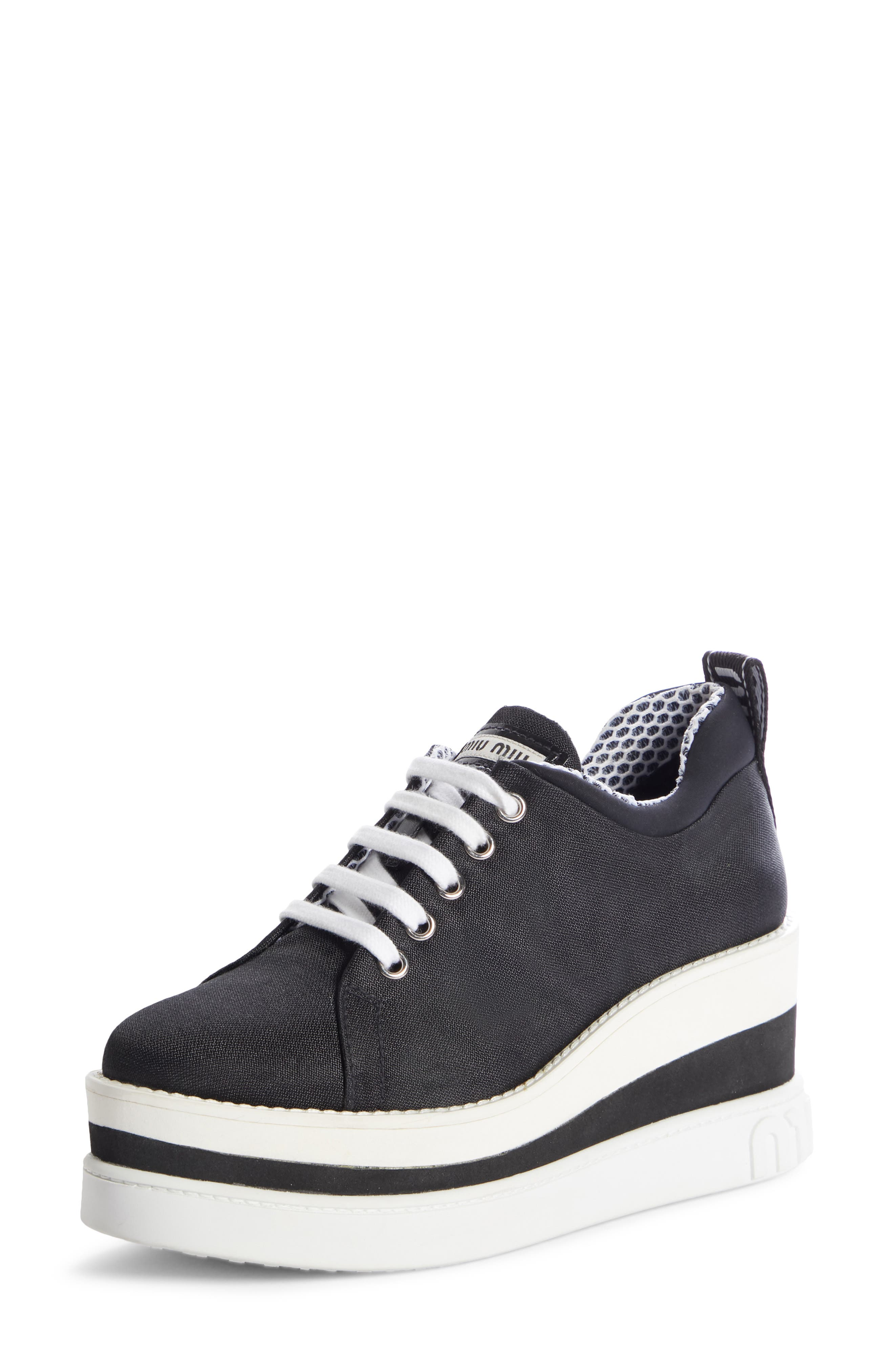 Platform Wedge Sneaker, Main, color, BLACK