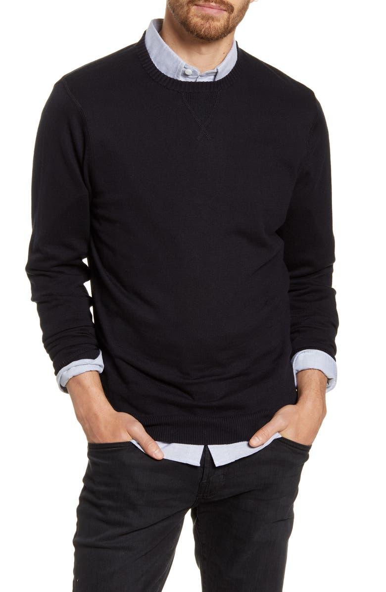 1901 Solid Crewneck Sweater, Main, color, BLACK CAVIAR