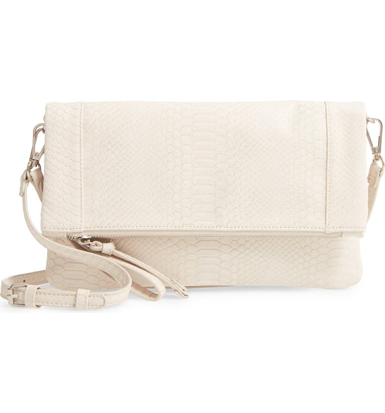 SOLE SOCIETY Marlena Faux Leather Clutch.Crossbody Bag, Main, color, LINEN