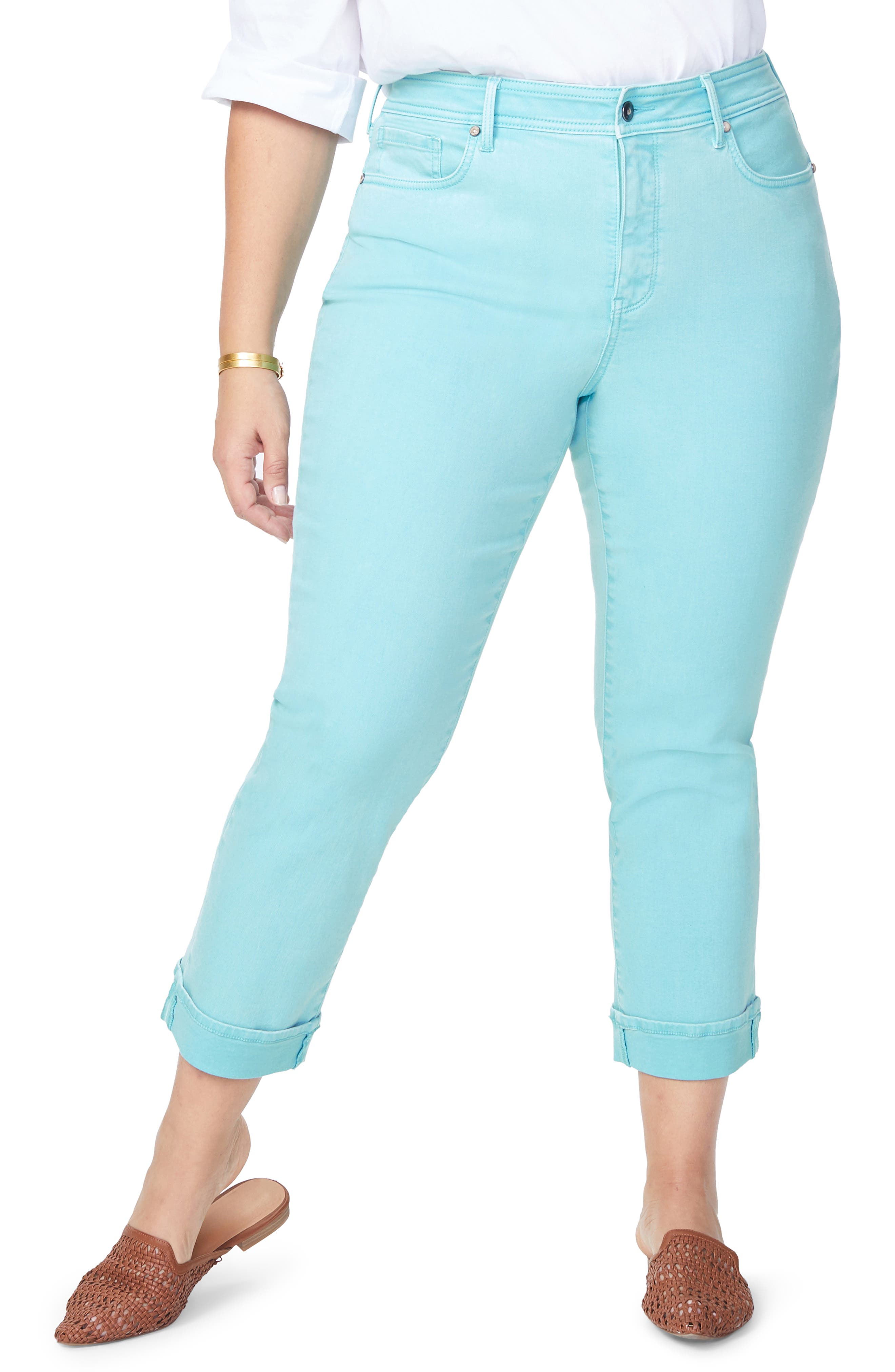 Marilyn Cuff Straight Leg Jeans, Main, color, BLUE DAISY