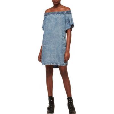 Allsaints Adela Off The Shoulder Tencel Lyocell Dress, Blue