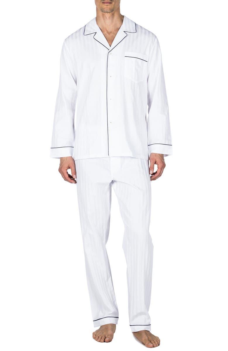 MAJESTIC INTERNATIONAL Sateen Stripe Pajamas, Main, color, WHITE