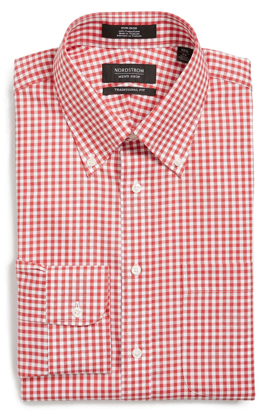 ,                             Traditional Fit Non-Iron Gingham Dress Shirt,                             Main thumbnail 70, color,                             610