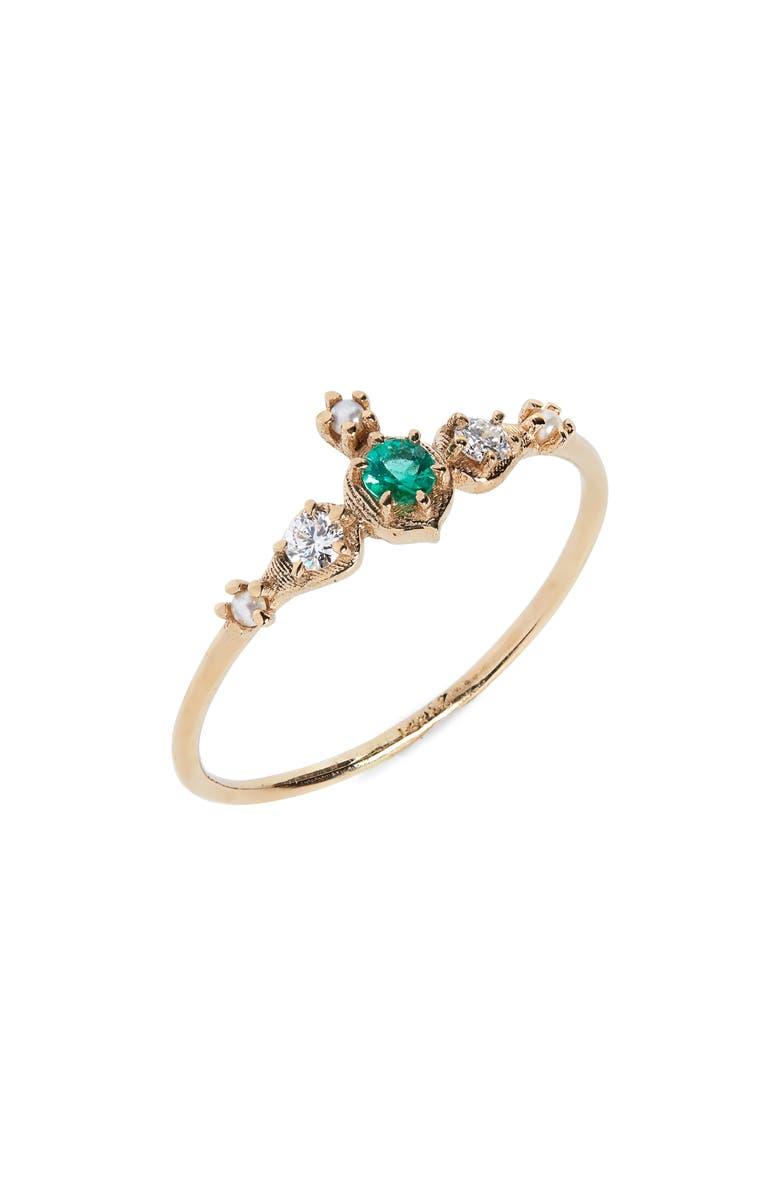 SOFIA ZAKIA Shalimar Emerald, Diamond & Freshwater Pearl Ring, Main, color, GOLD/ EMERALD