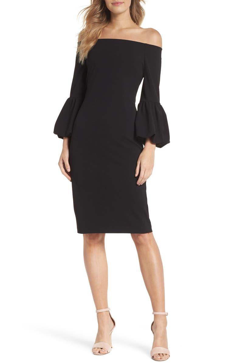 ELIZA J Off the Shoulder Bell Sleeve Scuba Crepe Dress, Main, color, 001