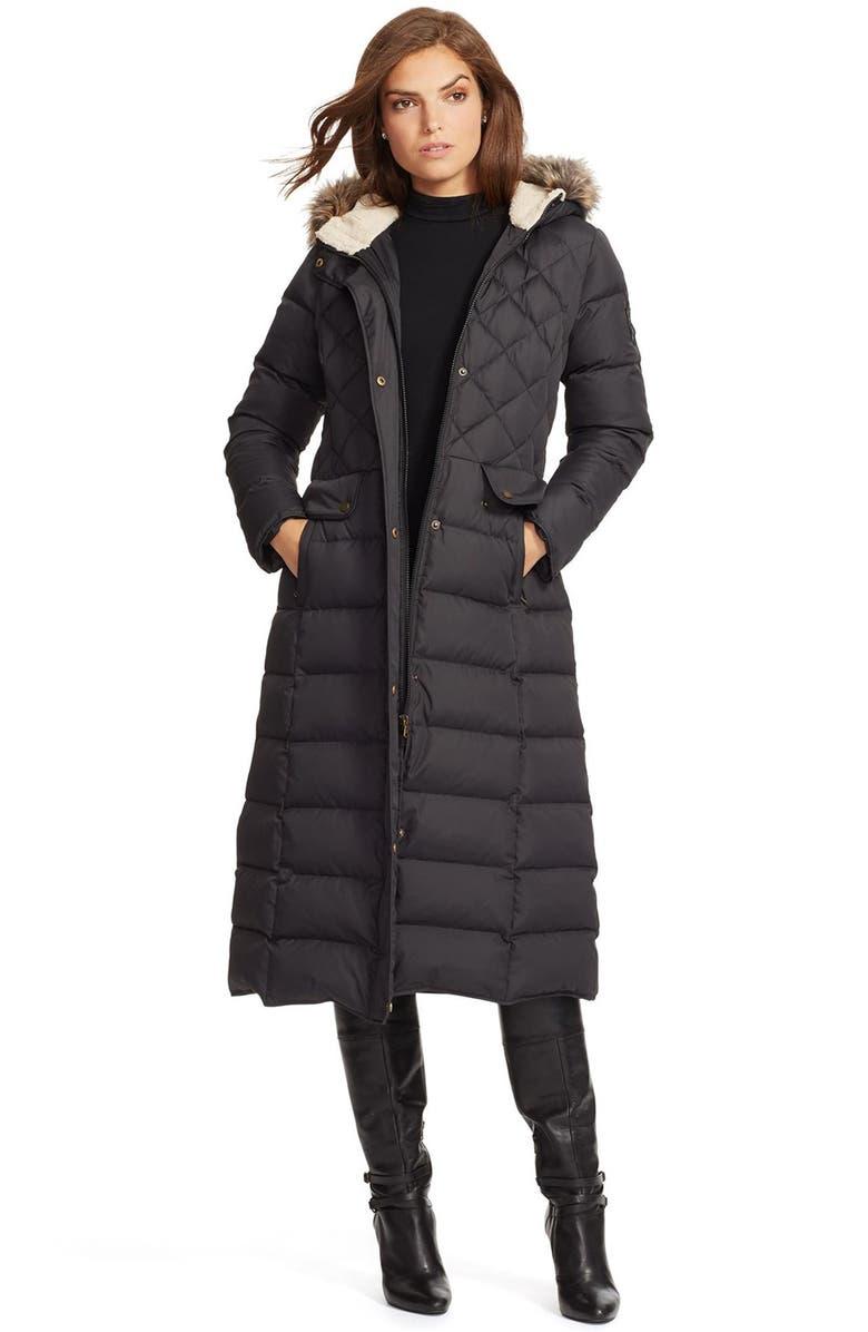LAUREN RALPH LAUREN Faux Fur Trim Hooded Long Down & Feather Fill Coat, Main, color, 001