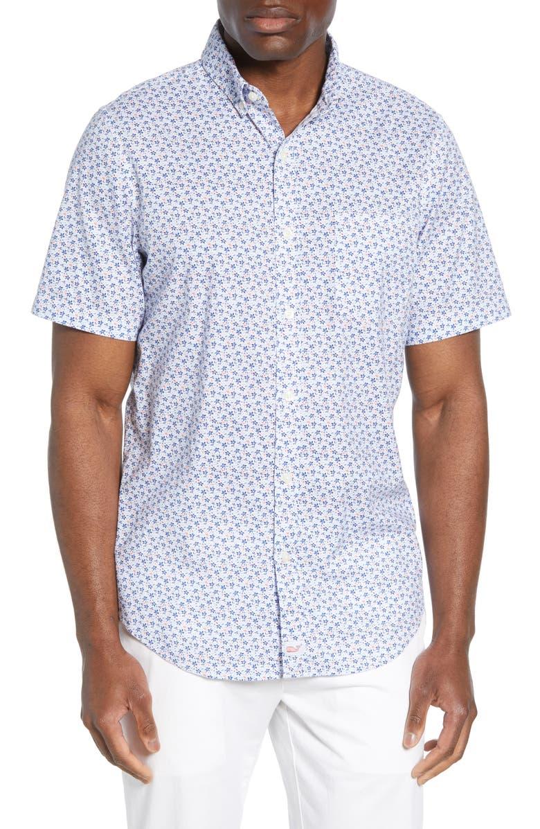 VINEYARD VINES Murray Slim Fit Mini Floral Shirt, Main, color, MOONSHINE