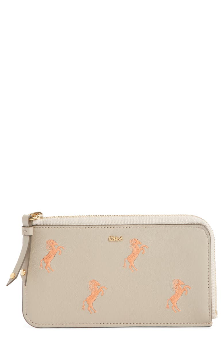 CHLOÉ Embroidered Leather Zip Card Case, Main, color, PASTEL GREY