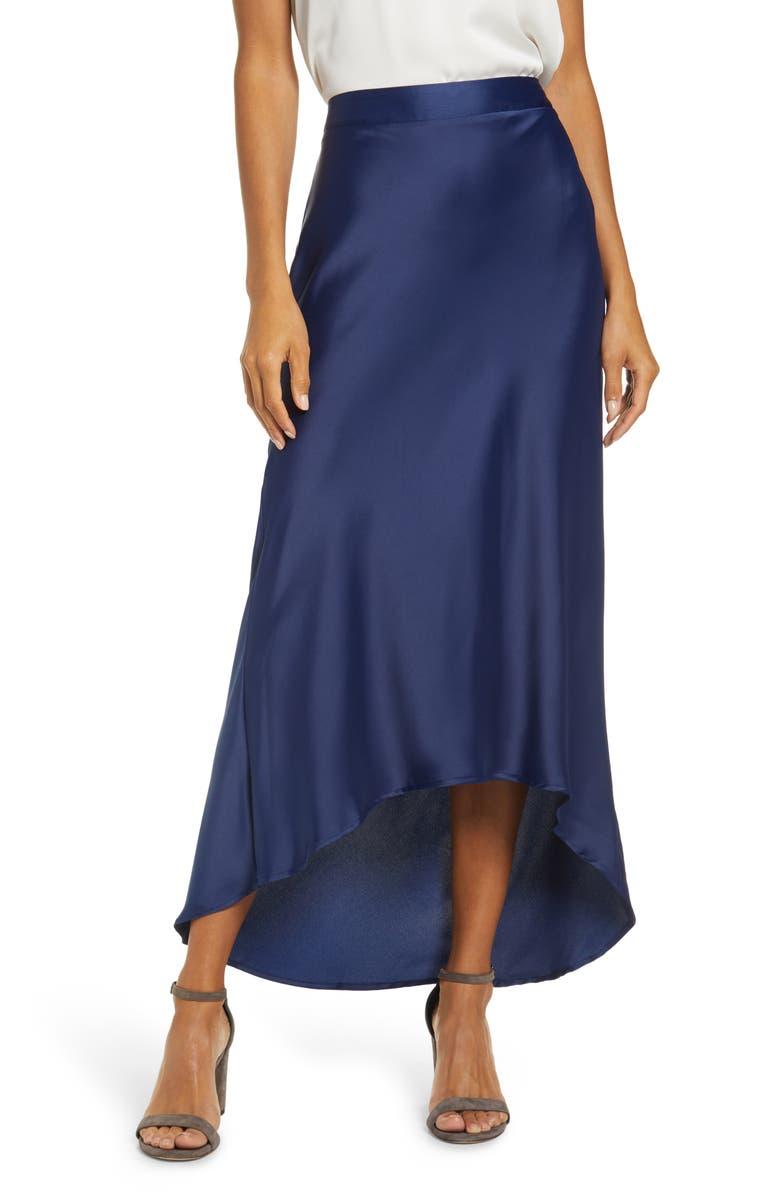 GIBSON x Fall Refresh Bias Cut Pull-On Skirt, Main, color, MIDNIGHT BLUE
