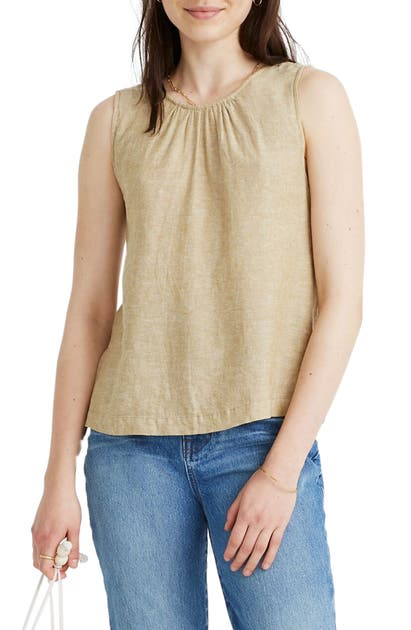 Madewell Cinch Back Linen Blend Tank In Bronzed Lichen