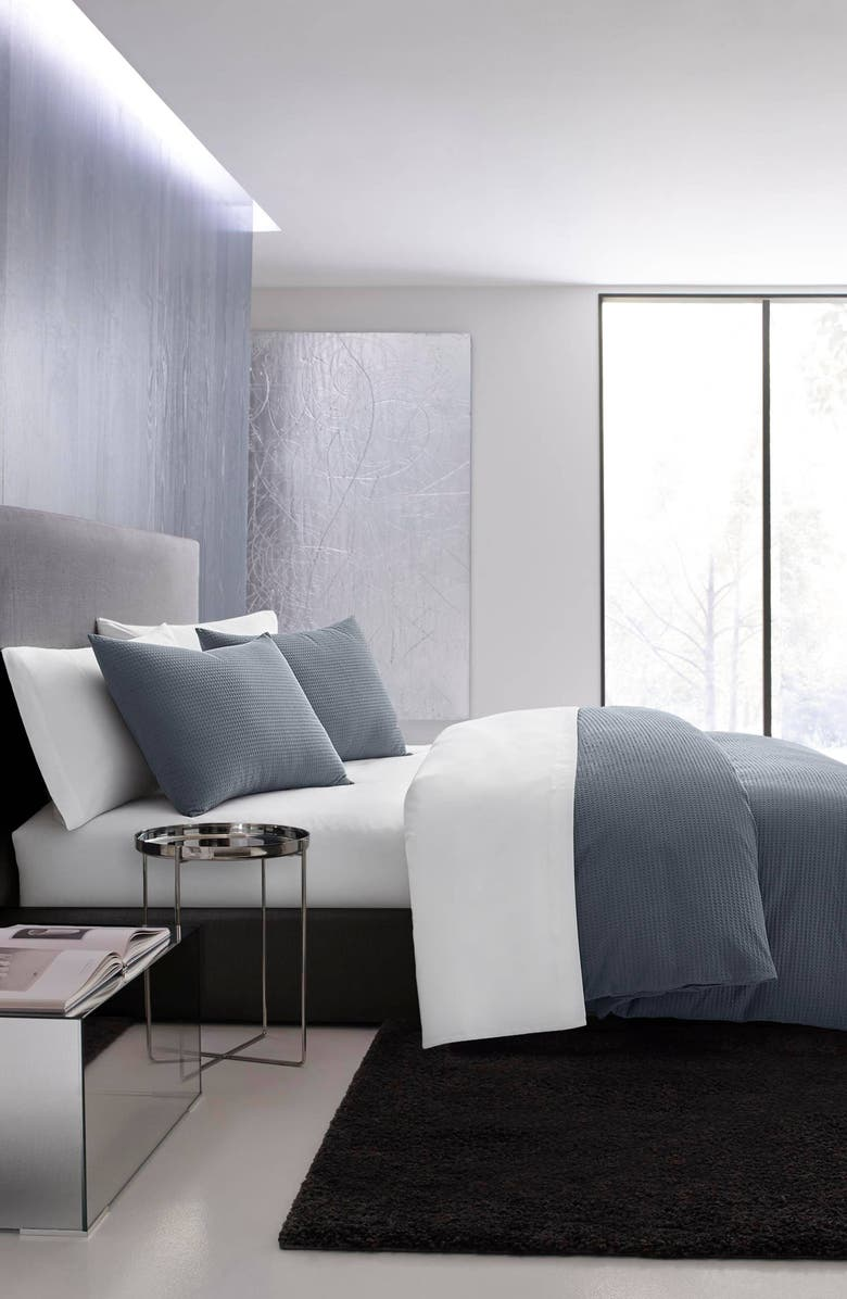 VERA WANG Waffle Piqué Duvet Cover & Sham Set, Main, color, MIDNIGHT BLUE