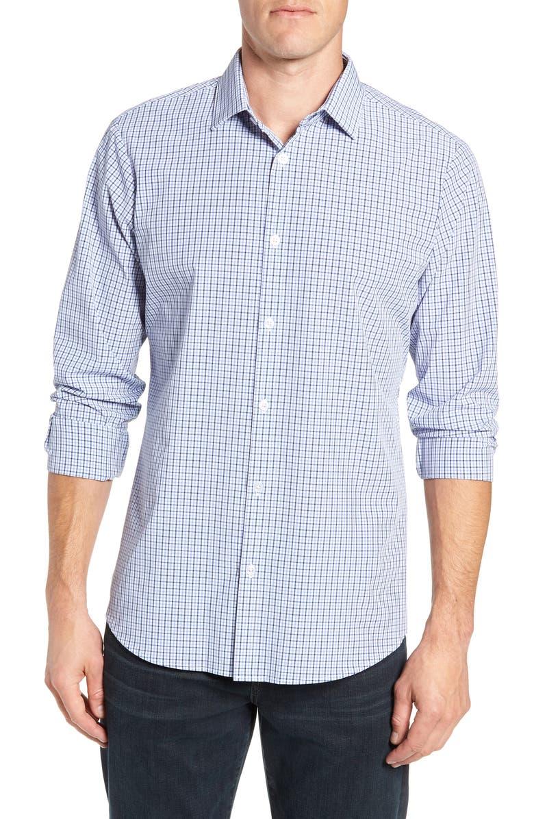 MIZZEN+MAIN Estes Check Performance Shirt, Main, color, BLUE
