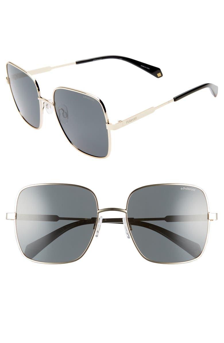 POLAROID EYEWEAR Polaroid 57mm Polarized Square Sunglasses, Main, color, ANTIQUE GOLD/ GREY