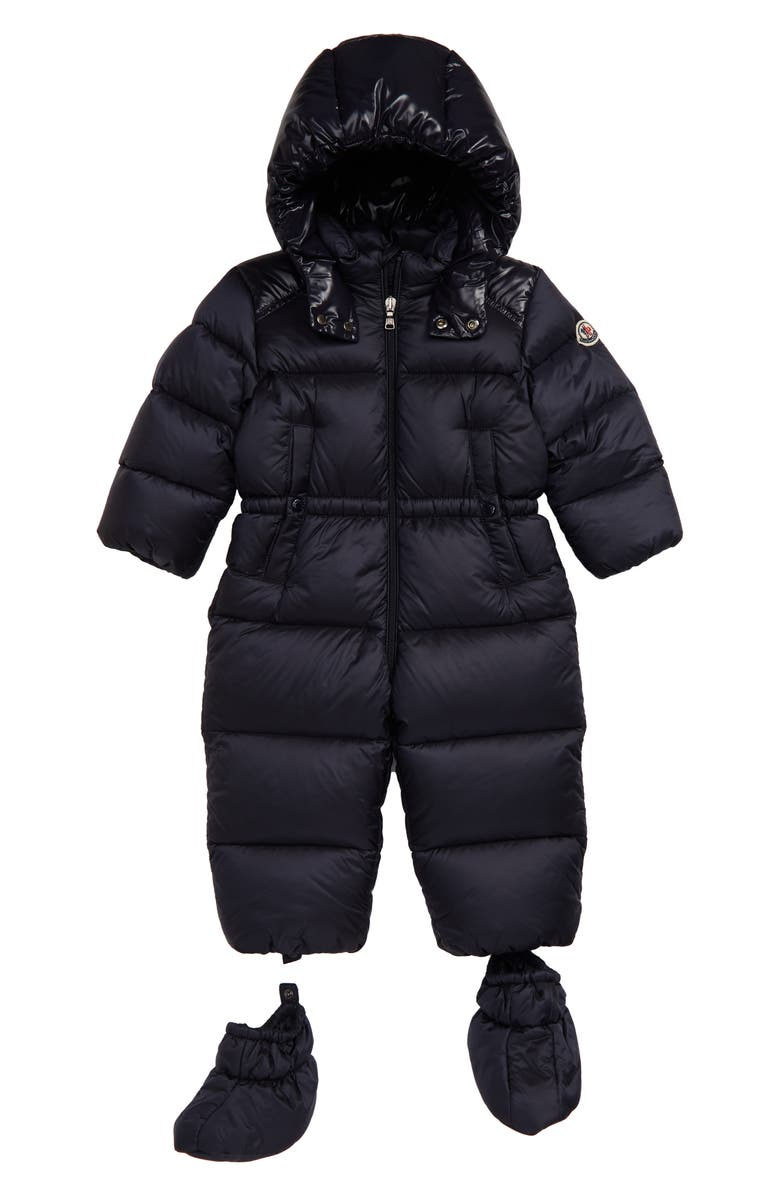 MONCLER Pervance Quilted Down Snowsuit, Main, color, NAVY
