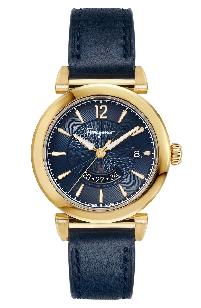 SALVATORE FERRAGAMO Feroni Leather Strap Watch, 40mm, Main, color, BLUE/ GOLD