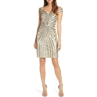 Plus Size Vince Camuto Off The Shoulder Body-Con Dress, Metallic