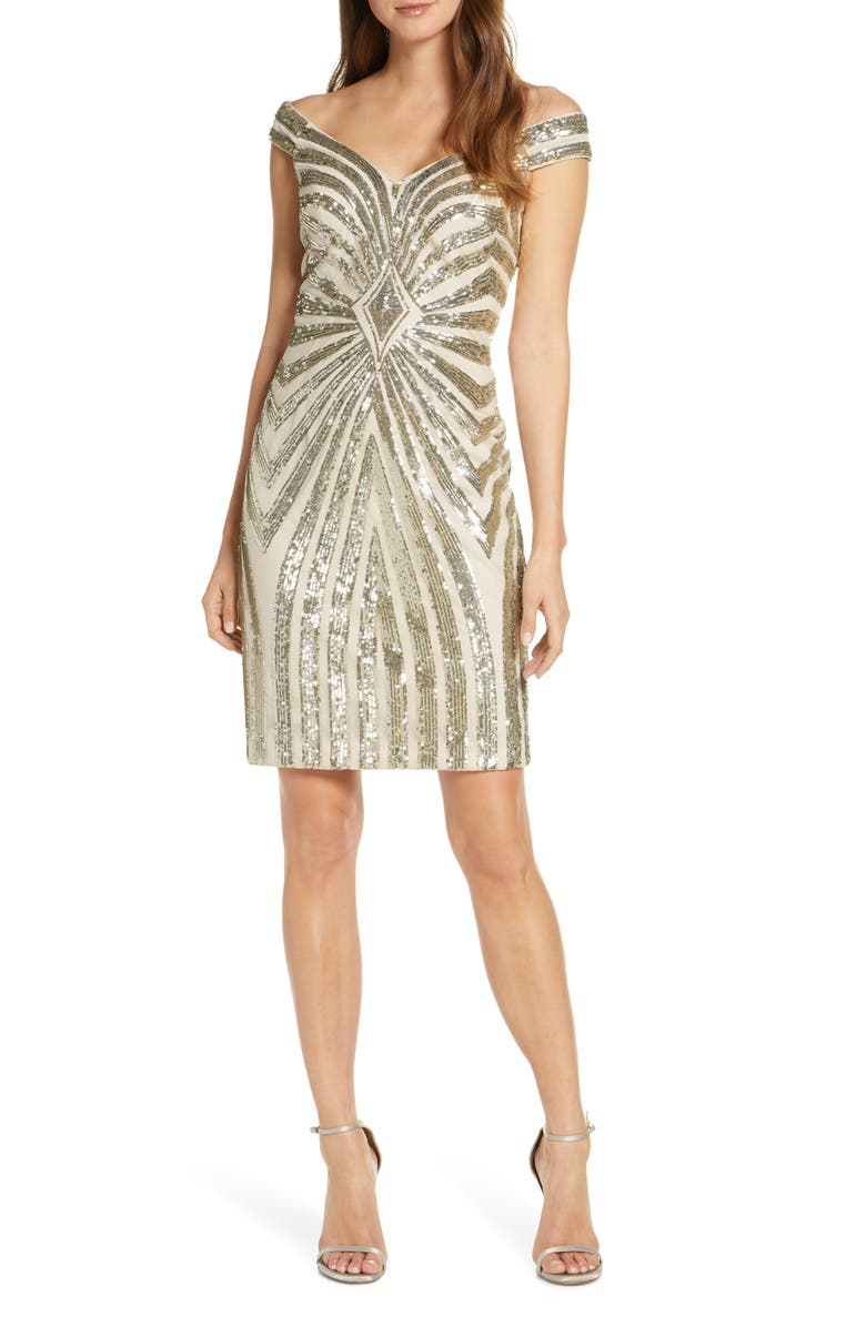 VINCE CAMUTO Off the Shoulder Body-Con Dress, Main, color, GOLD