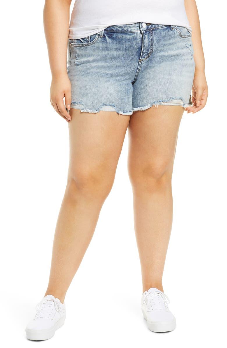 SLINK JEANS Easy Fit Distressed Frayed Hem Denim Shorts, Main, color, FLO