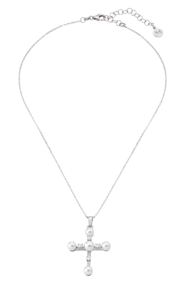 MAJORICA Simulated Pearl & Cubic Zirconia Cross Pendant Necklace, Main, color, 100