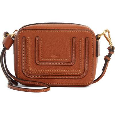 Chloe Mini Marcie Leather Crossbody Bag - Brown