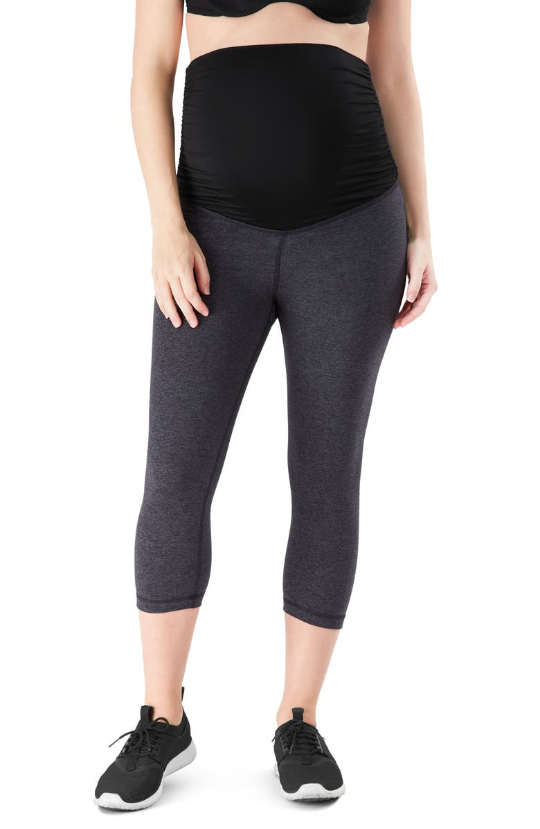 BELLY BANDIT<SUP>®</SUP> ActiveSupport<sup>®</sup> Essential Capri Maternity Leggings, Main, color, CHARCOAL