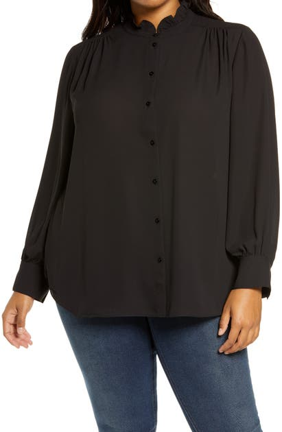 Nydj RUFFLE NECK BLOUSE