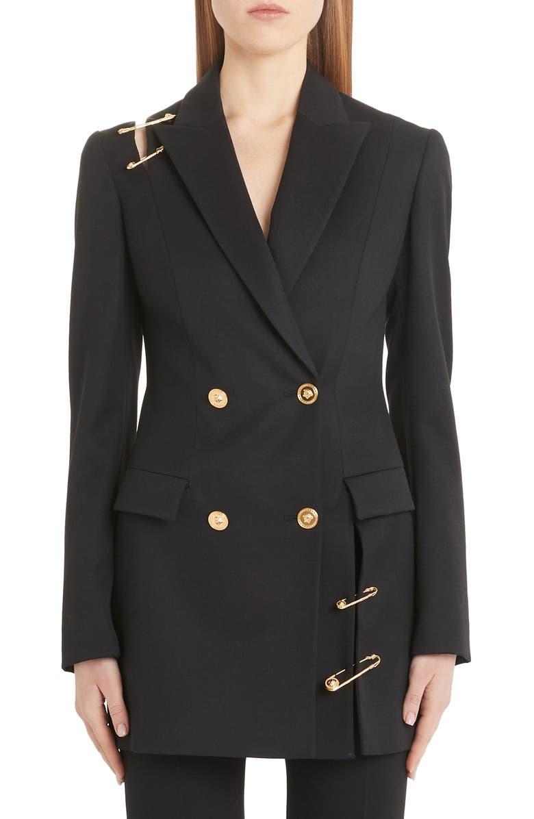 VERSACE Safety Pin Cutout Wool Blazer, Main, color, BLACK