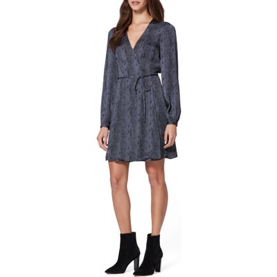 Paige Garance Snake Print Long Sleeve Dress, Black (Nordstrom Exclusive)