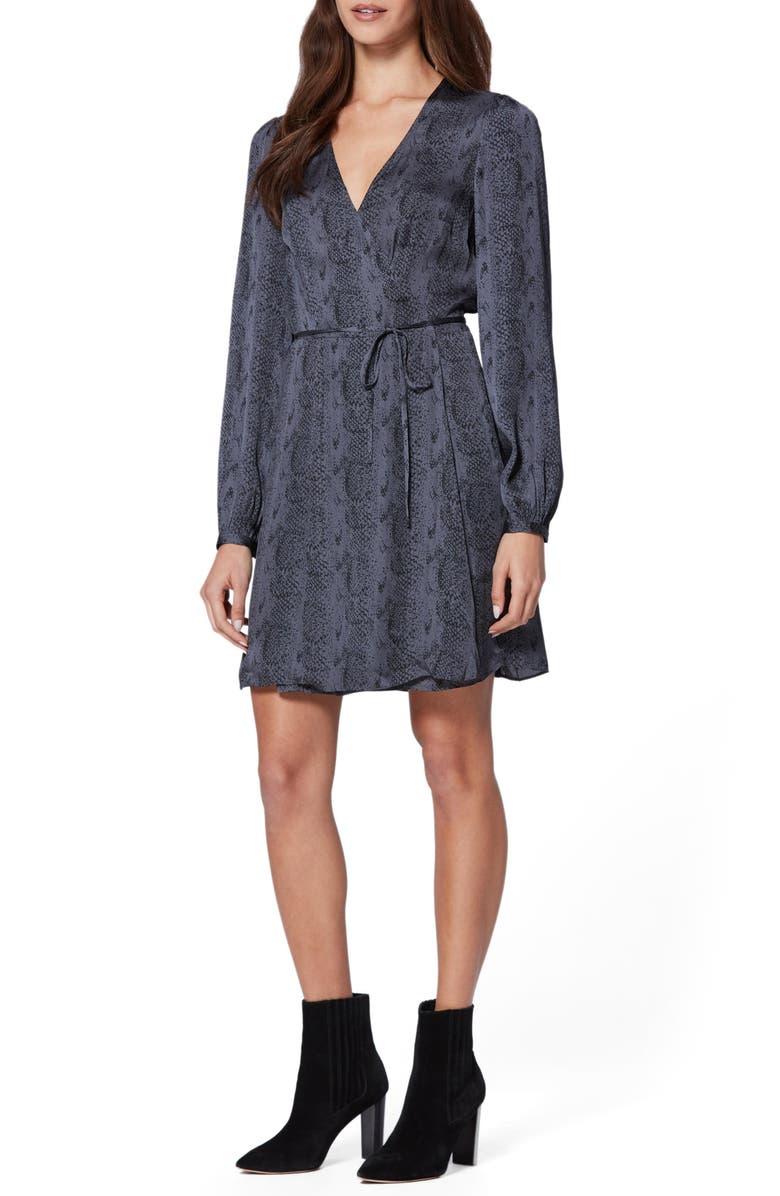 PAIGE Garance Snake Print Long Sleeve Dress, Main, color, DARK NIGHT SONORIAN SNAKE