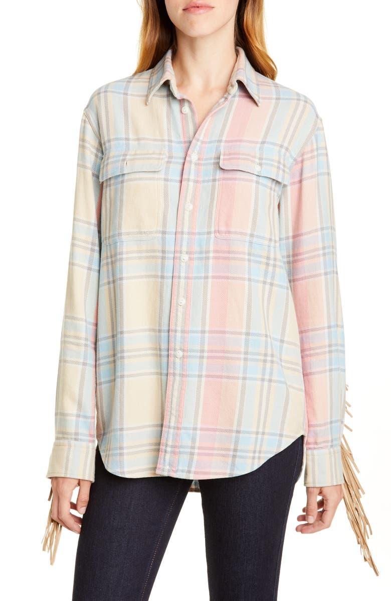 POLO RALPH LAUREN Fringe Trim Plaid Shirt, Main, color, TEAL/ PINK