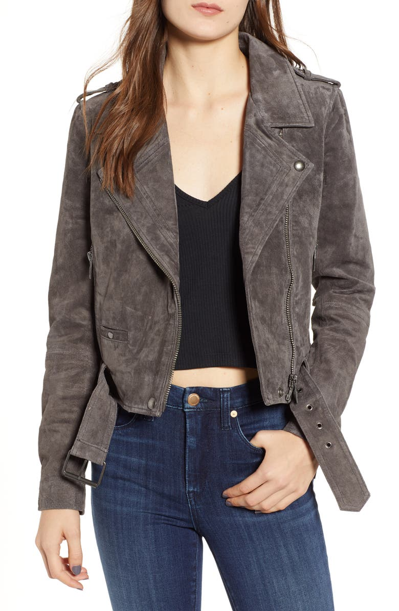 BLANKNYC Morning Suede Moto Jacket, Main, color, 022