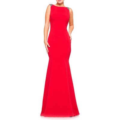 Marsoni Crystal Trim Crepe Trumpet Gown, Red